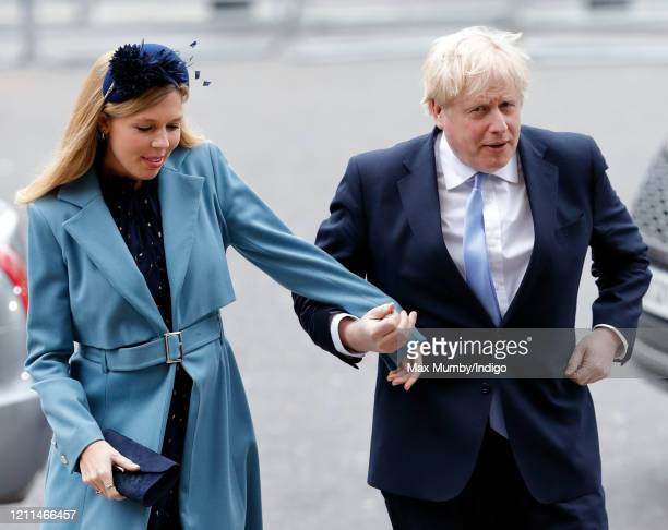 Carrie Symonds and Prime Minister Boris Johnson attend the Commonwealth Day Service 2020 at Westminster Abbey on March 9, 2020 in London, England....