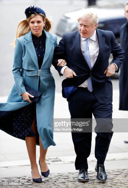Carrie Symonds and Prime Minister Boris Johnson attend the Commonwealth Day Service 2020 at Westminster Abbey on March 9 2020 in London England The...