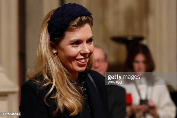 Carrie Symonds partner of British Prime Minister Boris Johnson is seen in the Peers Lobby as they attend the Queen's Speech during the State Opening...