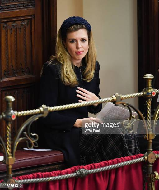 Carrie Symonds partner of British Prime Minister Boris Johnson listens to the Queen's speech during the State Opening of Parliament at the Palace of...