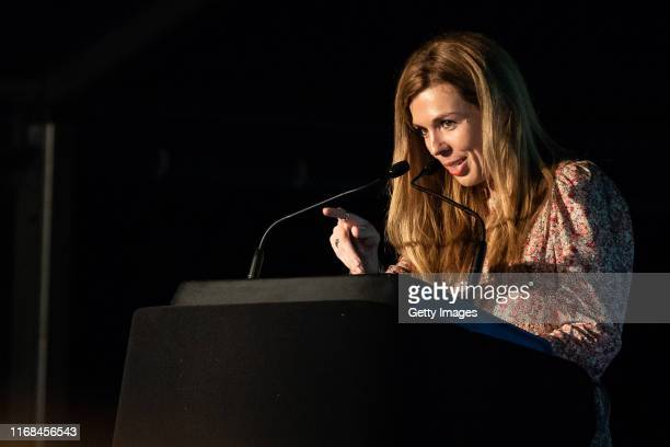 "Carrie Symonds speaks during the ""State of the Earth - Question Time"" at Birdfair on August 16, 2019 in Oakham, England."
