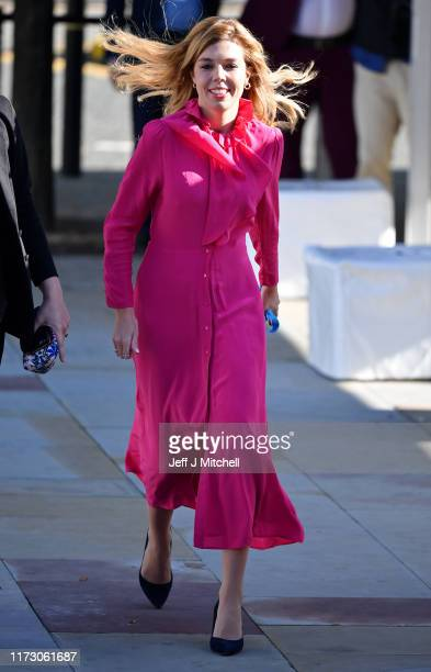 Carrie Symonds, the girlfriend of Prime Minister Boris Johnson, arrives prior to the Prime Minister's keynote speech on day four of the 2019...
