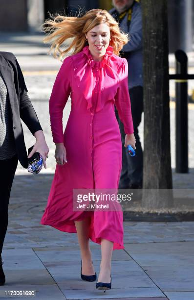 Carrie Symonds the girlfriend of Prime Minister Boris Johnson arrives prior to the Prime Minister's keynote speech on day four of the 2019...