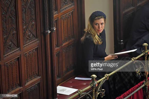 Carrie Symonds the partner of Prime Minister Boris Johnson during the State Opening of Parliament at the Palace of Westminster on October 14 2019 in...