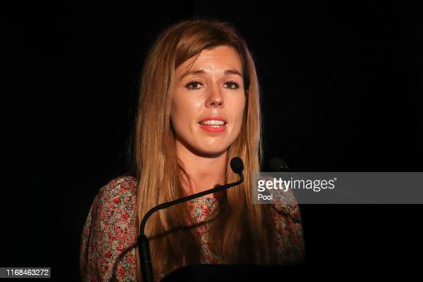 Carrie Symonds the partner of Prime Minister Boris Johnson gives a speech at Birdfair an environmental awareness conference on August 16 2019 in...