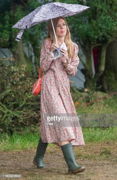 Carrie Symonds, the partner of Prime Minister Boris Johnson, seen with Deborah Meaden and wildlife expert Chris Packham, attend Birdfair, an...