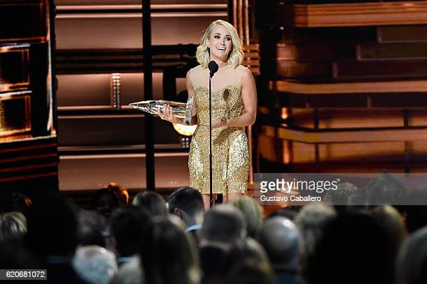 Carrie Underwood accepts the award for Female Vocalist of the Year onstage at the 50th annual CMA Awards at the Bridgestone Arena on November 2 2016...