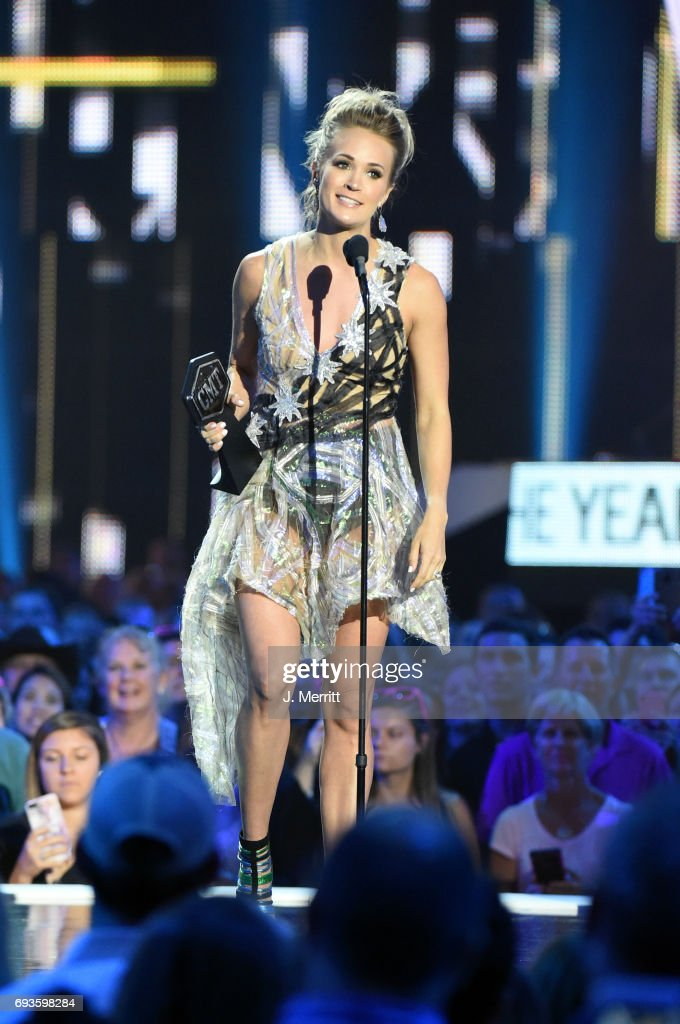 Carrie Underwood accepts the Female Video of the Year Award during the 2017 CMT Music Awards at the Music City Center on June 7, 2017 in Nashville, Tennessee.