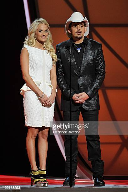 Carrie Underwood and Brad Paisley host the 46th annual CMA awards at the Bridgestone Arena on November 1, 2012 in Nashville, Tennessee.