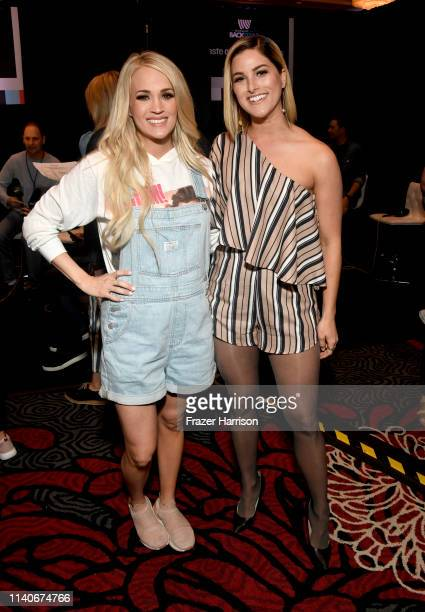 Carrie Underwood and Cassadee Pope attend the 54th Academy Of Country Music Awards Cumulus/Westwood One Radio Remotes on April 05 2019 in Las Vegas...