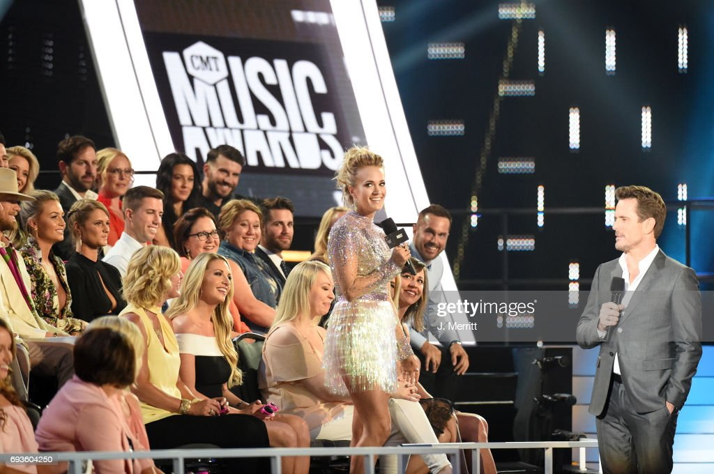Carrie Underwood and Charles Esten speak during the 2017 CMT Music Awards at the Music City Center on June 7, 2017 in Nashville, Tennessee.