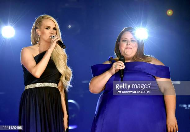 Carrie Underwood and Chrissy Metz perform onstage during the 54th Academy Of Country Music Awards at MGM Grand Garden Arena on April 07 2019 in Las...