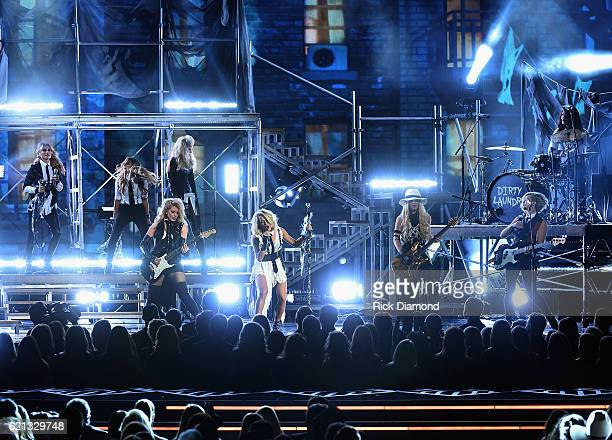 Carrie Underwood and Her all female band featuring Lindsay Ell on guitar Runaway June singers Lindi Ortega Rachel Loy and drummer Elizabeth Chan and...