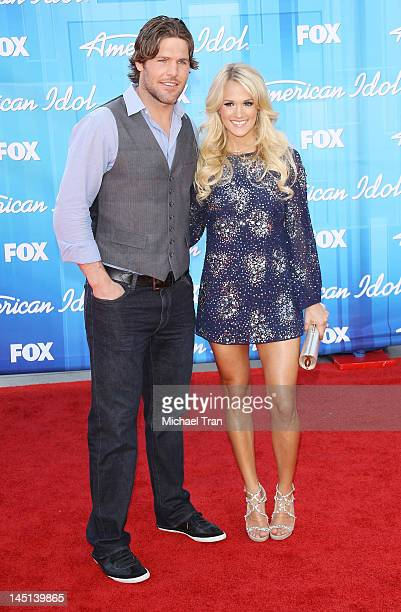 Carrie Underwood and husband Mike Fisher arrive at 'American Idol' Season 11 grand finale show held at Nokia Theatre LA Live on May 23 2012 in Los...
