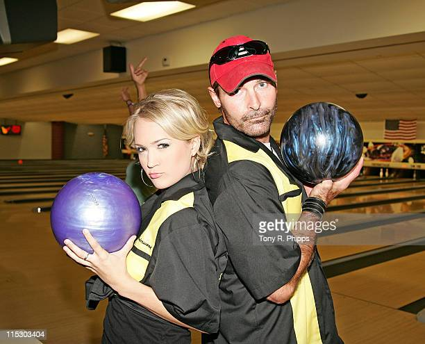 Carrie Underwood and Keith Burns of Trick Pony during Lonestar And Friends Strike Out For The Kids - 2nd Annual Bowling Party for St. Jude Children's...