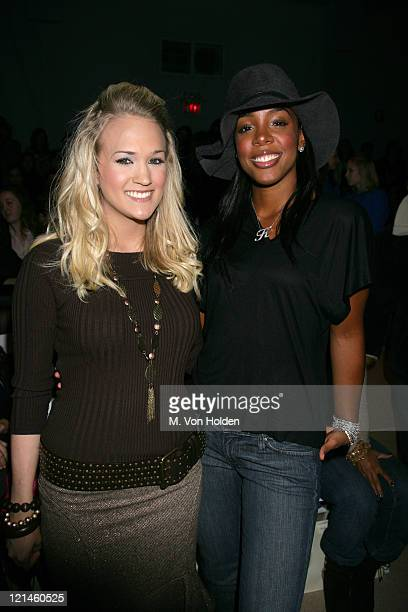 Carrie Underwood and Kelly Rowland during Olympus Fashion Week Fall 2006 Sass Bide Runway and Front Row at Bryant Park in New York City New York...