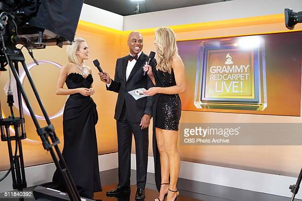 Carrie Underwood and Kevin Frazier on the red carpet during THE 58TH ANNUAL GRAMMY AWARDS Monday Feb 15 2016 at STAPLES Center in Los Angeles and...