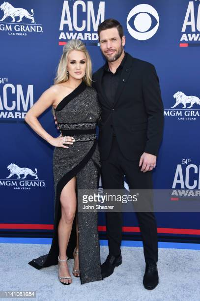 Carrie Underwood and Mike Fisher attend the 54th Academy Of Country Music Awards at MGM Grand Hotel Casino on April 07 2019 in Las Vegas Nevada