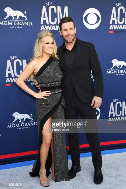 Carrie Underwood and Mike Fisher attend the 54th Academy Of Country Music Awards at MGM Grand Garden Arena on April 07 2019 in Las Vegas Nevada