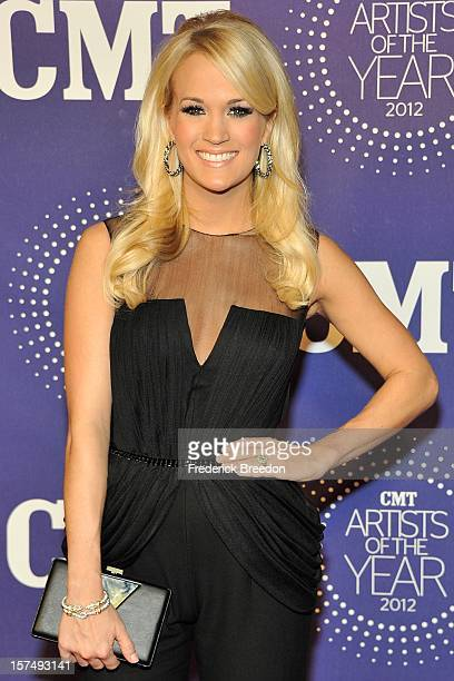 Carrie Underwood arrives at the 2012 CMT Artists Of The Year at The Factory At Franklin on December 3 2012 in Franklin Tennessee