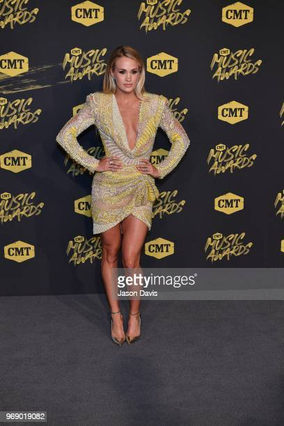 Carrie Underwood arrives at the 2018 CMT Music Awards at Bridgestone Arena on June 6 2018 in Nashville Tennessee
