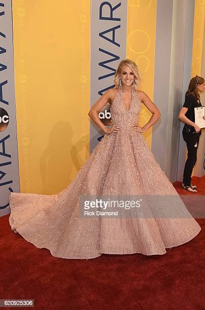 Carrie Underwood arrives on the red carpet at the The 50th Annual CMA Awards at Bridgestone Arena on November 2 2016 in Nashville Tennessee