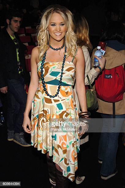Carrie Underwood attends BABY PHAT Fall 2006 Fashion Show Front Row Runway at The Tent at Bryant Park on February 3 2006 in New York