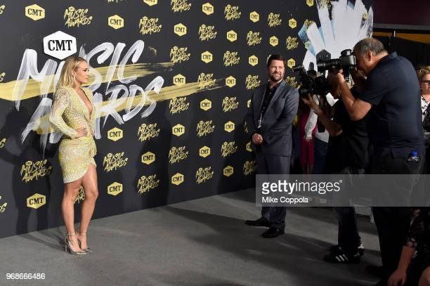 Carrie Underwood attends the 2018 CMT Music Awards at Bridgestone Arena on June 6 2018 in Nashville Tennessee