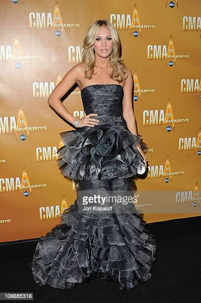Carrie Underwood attends the 44th Annual CMA Awards at the Bridgestone Arena on November 10 2010 in Nashville Tennessee