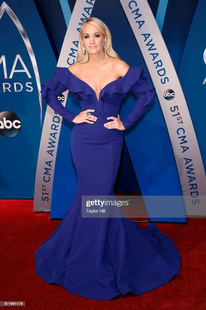 Carrie Underwood attends the 51st annual CMA Awards at the Bridgestone Arena on November 8, 2017 in Nashville, Tennessee.