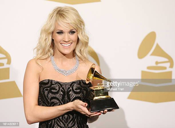 Carrie Underwood attends The 55th Annual GRAMMY Awards press room held at Staples Center on February 10 2013 in Los Angeles California