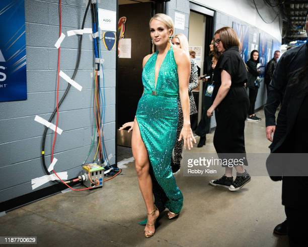 Carrie Underwood backstage during the 53rd Annual CMA Awards at Bridgestone Arena on November 13, 2019 in Nashville, Tennessee.