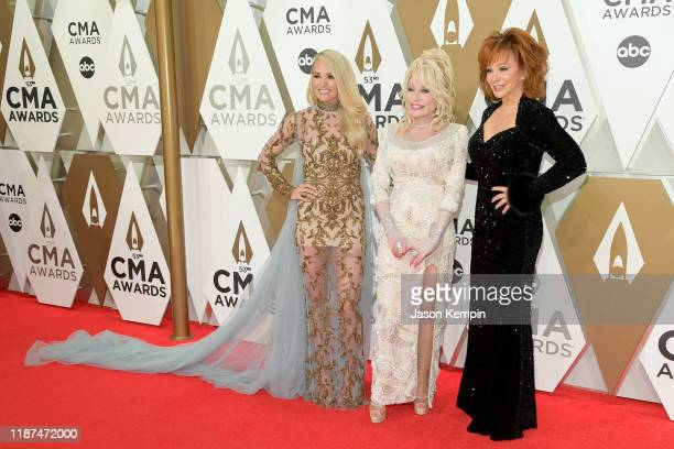 Carrie Underwood, Dolly Parton and Reba McEntire attend the 53rd annual CMA Awards at the Music City Center on November 13, 2019 in Nashville,...