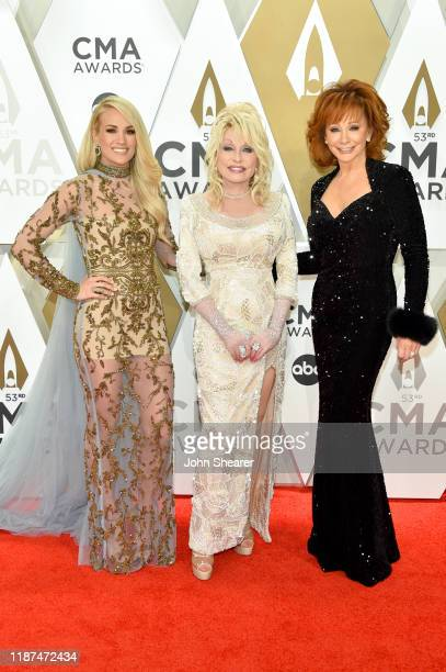 Carrie Underwood Dolly Parton and Reba McEntire attend the 53rd annual CMA Awards at the Music City Center on November 13 2019 in Nashville Tennessee