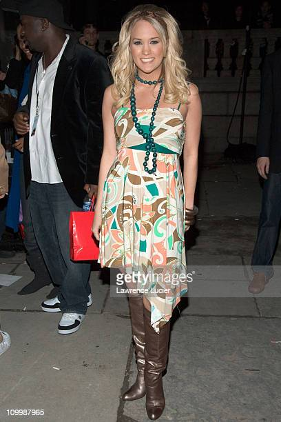 Carrie Underwood during Olympus Fashion Week Fall 2006 Baby Phat Outside Arrivals and Departures at Bryant Park in New York City New York United...