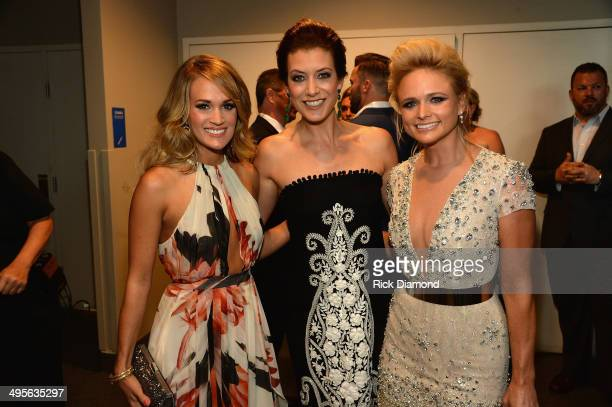 Carrie Underwood Kate Walsh and Miranda Lambert attend the 2014 CMT Music Awards at Bridgestone Arena on June 4 2014 in Nashville Tennessee