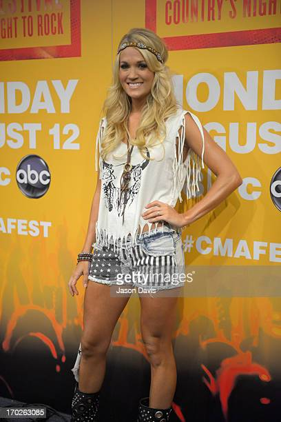 Carrie Underwood makes an appearance at a press conference during the 2013 CMA Music Festival on June 9 2013 in Nashville Tennessee
