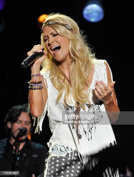 Carrie Underwood performs at LP Field during the 2013 CMA Music Festival on June 9 2013 in Nashville Tennessee