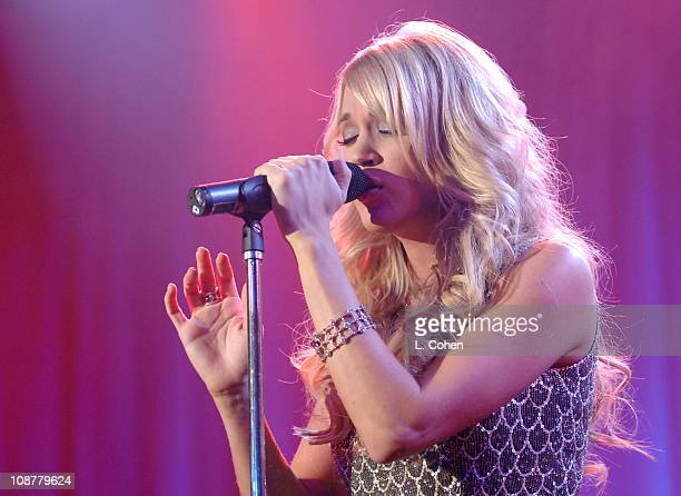 Carrie Underwood performs during 2007 Clive Davis PreGRAMMY Awards Party Show at Beverly Hills Hilton in Beverly Hills California United States