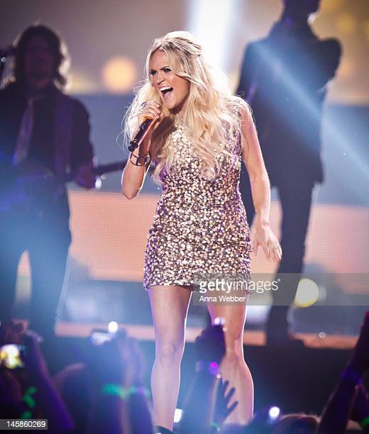 Carrie Underwood performs during the 2012 CMT Music awards at the Bridgestone Arena on June 6 2012 in Nashville Tennessee