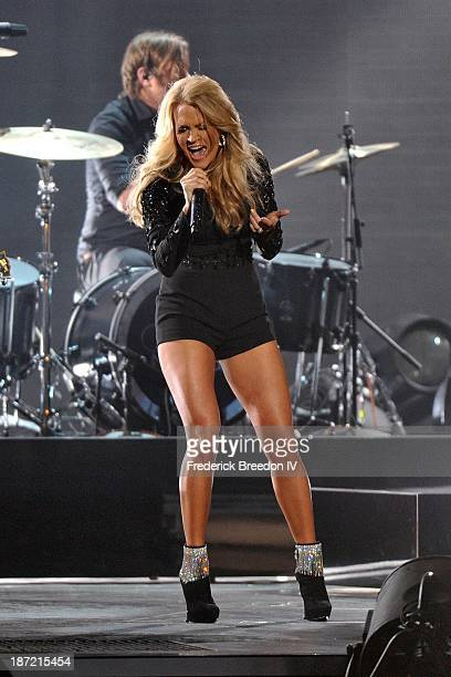 Carrie Underwood performs during the 47th annual CMA awards at the Bridgestone Arena on November 6 2013 in Nashville Tennessee