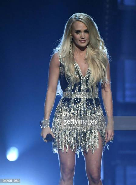 Carrie Underwood performs during the 53rd Academy of Country Music Awards at MGM Grand Garden Arena on April 15 2018 in Las Vegas Nevada