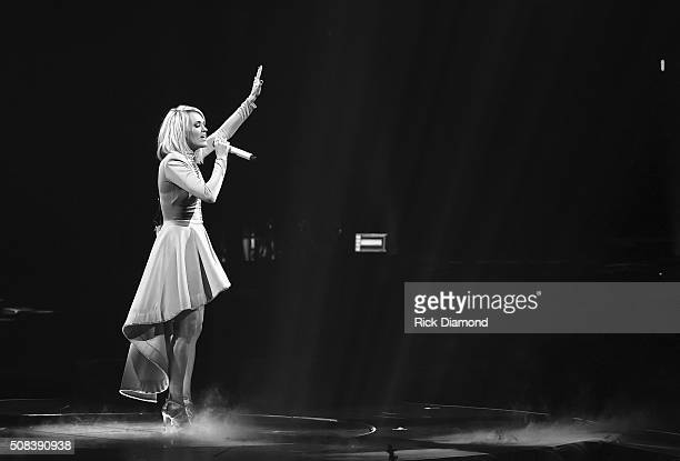 Carrie Underwood performs during 'The Storyteller Tour' at Infinite Energy Arena on February 1 2016 in Duluth Georgia
