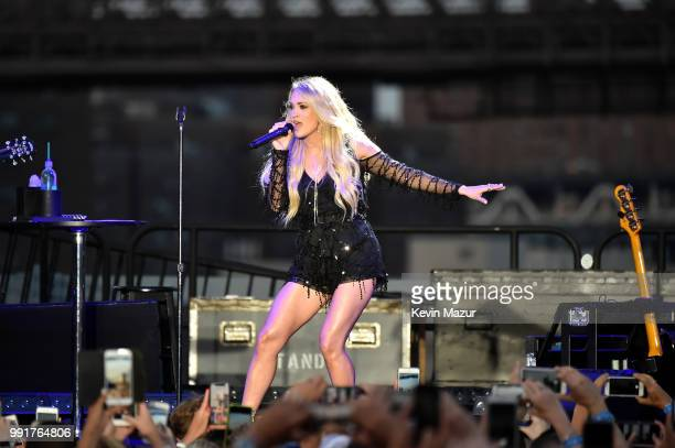 Carrie Underwood performs on stage at the Spotify's Hot Country Live Series with Carrie Underwood Dan Shay and Filmore at Pier 17 on July 4 2018 in...