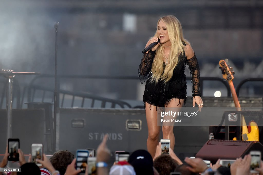 Carrie Underwood performs on stage at the Spotify's Hot Country Live Series with Carrie Underwood, Dan + Shay and Filmore at Pier 17 on July 4, 2018 in New York City.