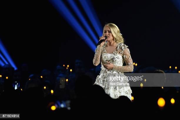 Carrie Underwood performs onstage at the 51st annual CMA Awards at the Bridgestone Arena on November 8 2017 in Nashville Tennessee