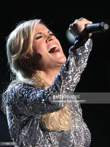 Carrie Underwood performs onstage during ACM Presents Girls' Night Out Superstar Women of Country concert held at the MGM Grand Garden Arena on April...