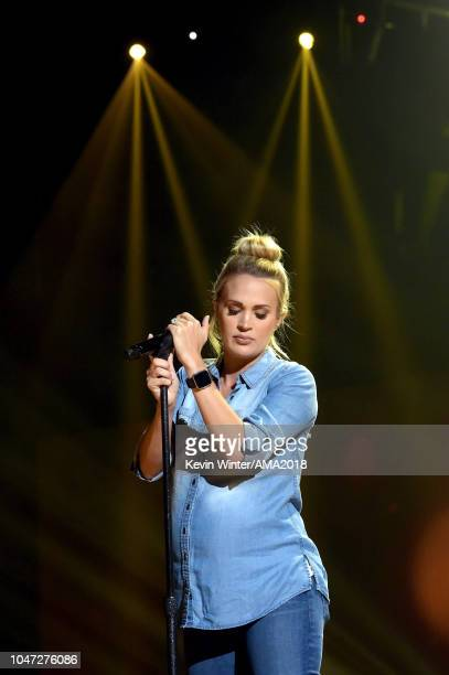 Carrie Underwood performs onstage during the 2018 American Music Awards rehearsals at Microsoft Theater on October 7 2018 in Los Angeles California