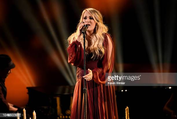 Carrie Underwood performs onstage during the 2018 American Music Awards at Microsoft Theater on October 9 2018 in Los Angeles California