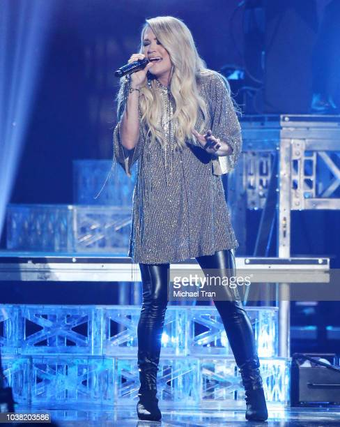 Carrie Underwood performs onstage during the 2018 iHeartRadio Music Festival Day 2 held at TMobile Arena on September 22 2018 in Las Vegas Nevada